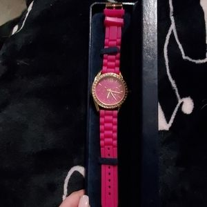 Geneva Platinum Pink Watch with Rhinestones